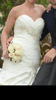 White ivory satin wedding dress!!! new price MUST SEE!