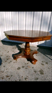 Solid wood dark brown vintage dining/ kitchen table.