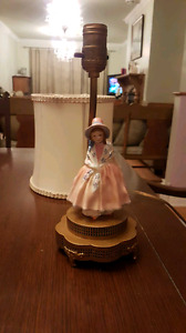 Royal Doulton figurine on lamp