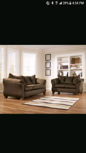 2 Brown Microfiber Couches