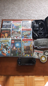 PSP with 10 games, 2 movies, 2 cases