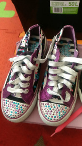 Kids sketchers(twinkle toes) and monster high, high top sneakers