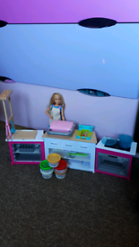 Barbie kitchen with doll