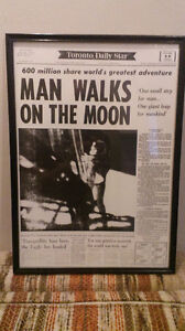 PRINT OF NEWSPAPER OF MAN ON THE MOON. $25 obo