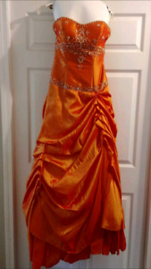 Size 8 Iridescent Orange Grad or Prom Gown