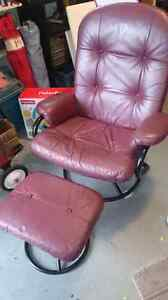 Burgundy Reclining Lounge Chair with ottoman