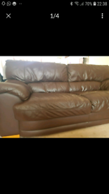 Chocolate 3 Seater Real Leather Sofa