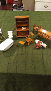 Wooden, brass, & porcelain doll house furniture