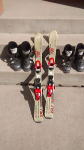 Kids Ski 100 with binding 2 pairs of boots 19.5 & 23.5
