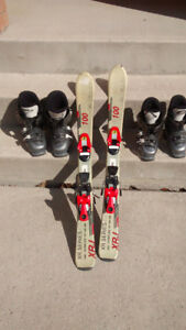 Kids Ski 100 with binding 2 pairs of boots 19.5 & 22.5