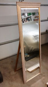 5 Foot standing Mirror with Gold and Creme Accents