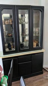 Vaissellier de cuisine noir, mirroir, lumière, Kitchen dresser