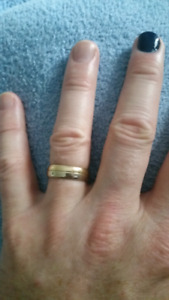 Two colour gold custom made men's wedding band ring size 8.25