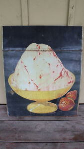Old Double Sided Metal/Tin Ice Cream Sign