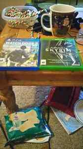 Selling watch dogs 2 ps4 and skyrim remastered xbox one