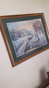Winter Scene Picture in Wooden frame