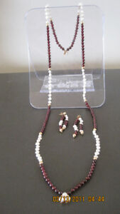 Fresh water pearl and garnet necklace and earrings