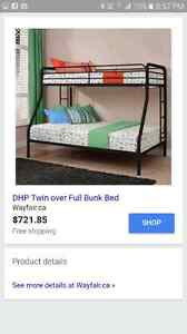 Twin over Double/Full Bunk Bed - Black Iron