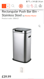 Stainless steel 40 L kitchen bin Black