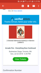 2 Tickets for Arcade Fire Concert - July 22