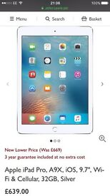 Apple iPad Pro 9.7 inch - Brand New 32GB -Wifi and 4G -White and Silver - Unlocked - 1 year Warranty