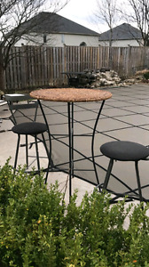 Pub Wicker table with 2 black chairs