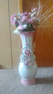 Silk flowers and vase for sale