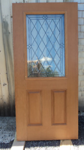 "New 36"" fiberglass door with leaded glass"