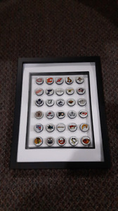 Framed NHL Labatt Blue beer caps all 30 teams