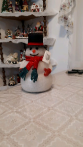 Light up snowman changes colors run by battery