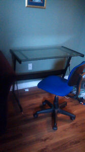 Computer chair and glass desk
