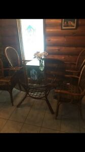 Glass Rattan table and chairs