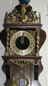 Vintage Warmink dutch 8 day Oak wood weight driven Zaanse Clock