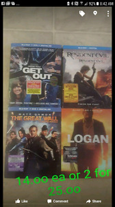 Newer movies for sale 14.oo ea or2 for 25.0