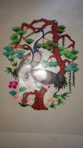 Vintage Hand Painted/Cut Paper Birds For Framing