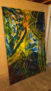 Freshly painted large 6'x 4' abstract painting.
