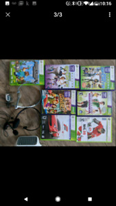 Xbox 360 + Kinect + 3 wireless controllers+ 2 headsets+ games