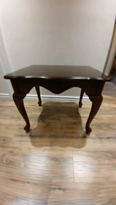 Antique dark brown hard wood classic side table