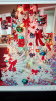 7ft white xmas tree with accesories