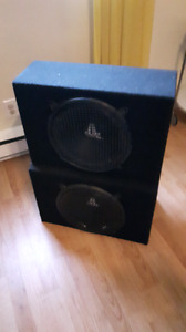 "Two 12"" subwoofers with enclosure"