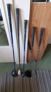Various golf clubs  (putters,wedged, driver, rescue clubs