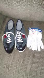 Men's Asham Curling Shoes sz 12, gloves & gripper