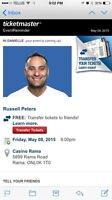 2 tickets to Russell Peters Show-casino rama may 8.