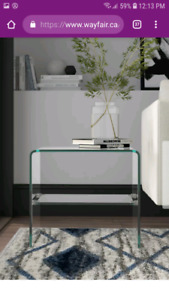 Waterfall bent glass side table