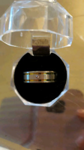 Men's gold and silver titanium ring 9
