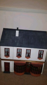 Hand made dolls house, furniture and dolls