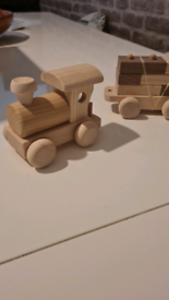 Hand carved wooden train