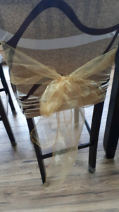 Gold wedding chair sashes