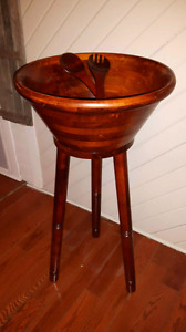 Large Wooden Salad Bowl with Stand
