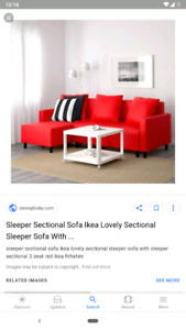 IKEA FRIHETEN Red Sectional Sofa Bed